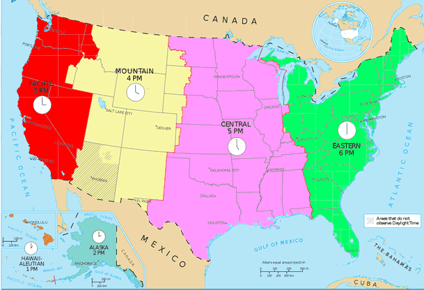 Time And Time Zones Mrdowlingcom - Us time zone map with times