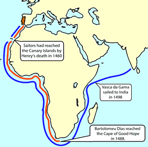 African History - Map of Portuguese Exploration of the African Coastline