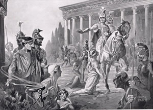 Alexander destroyed Thebes as a warning to the other Greek poli.