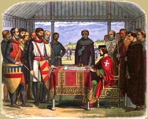 King John I of England signs the Magna Carta