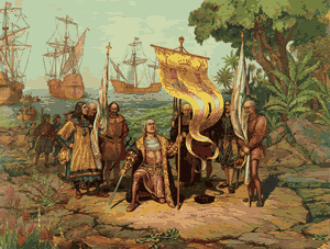 The Caribbean - Christopher Columbus discovers The Americas for Spain (Gergio Delucio, undated)